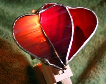 Stained Glass  Hearts Together Night Light