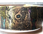 Etched Brass Bracelet with Owl Pattern and Alcohol Inks