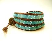 Wrap Bracelet, Aquamarine Bracelet, Wrap Bracelet, Blue Bracelet, Rustic, Country Western, Handmade Jewelry, Aquamarine