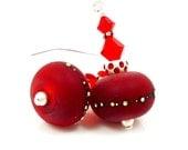 Red Christmas Earrings, Christmas Jewelry, Lampwork Earrings, Glass Earrings, Red Crystal Earrings, Glass Bead Earrings, Beadwork Earrings