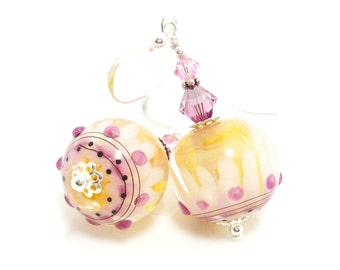 Pink Earrings, Lampwork Earrings, Glass Earrings, Glass Bead Earrings, Beaded Earrings, Beadwork Earrings, Lampwork Jewelry, Glass Jewelry