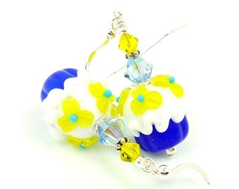 Cupcake Earrings, Lampwork Earrings, Glass Earrings, Glass Bead Earrings, Lampwork Jewelry, Cupcake Jewelry, Blue & Yellow Earrings