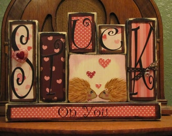 Valentines Day Decor - Valentine Blocks - Stuck On You