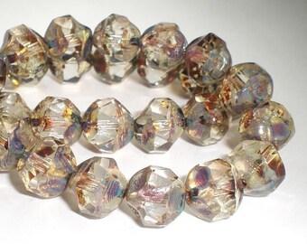 8mm Clear Transparent Czech Glass Beads Amber Picasso Central Cut 10 Pcs. CC-053
