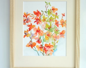 Orange Orchid Medley, Watercolor Flowers, Watercolor Orchids, Fine Art Print 8x10