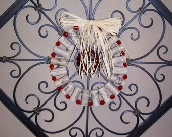Cork Wreath, Wine Corks, Red Glass Beads, Wreath