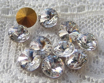 SS24 Swarovski Rivoli Clear Glass Round Rhinestone, glue into a wedding bouquet, Qty 10