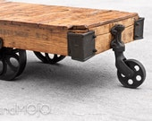 ON SALE Vintage Industrial Factory Cart Coffee Table - in stock - brandMOJOinteriors