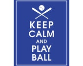 Keep Calm and PLAY BALL (Baseball) - Art Print (Featured in American Blue) Keep Calm Art Prints and Posters