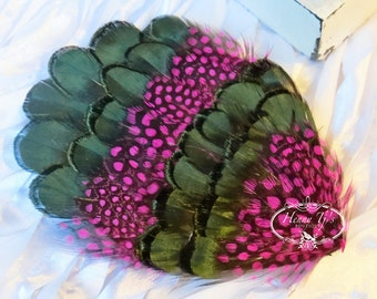 Combination Natural Green Lady Amherst Feathers with Hot Pink Guinea (FPI26) RingNeck Pheasant Feather Pad -Millinery -Applique