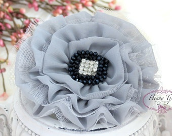 NEW: GORGEOUS 4.5 inch Large Chiffon Tulle Fabric Flower with Rhinestones, Hair Accessories. Bridesmaid, Flower Girls