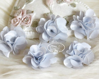 NEW: 5 pcs 24mm SILVER Grey Tini Tiny Small Puffy Satin Flowers. applique hair bow, hair accessories