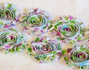 Green Violet Lollipop Candy Print 2 1/2 inch- 1 yard Chiffon Shabby Rose Trim, Hair Bow. Chiffon Rosettes