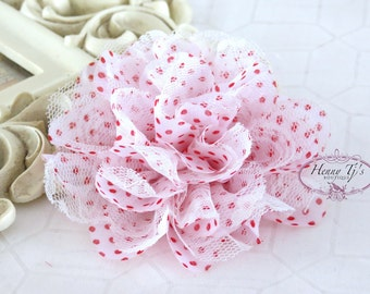 """NEW : 2 pieces 3.5"""" Shabby Chic Frayed Chiffon Mesh and Lace Rose Fabric Flower - White RED Polka dots with White Lace"""