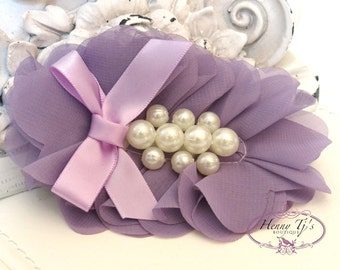 New: Pearlynn Collection - 2 pcs Silk Chiffon Pearl Fabric Flowers  - VINTAGE PURPLE / LAvender Layered Bouquet flowers