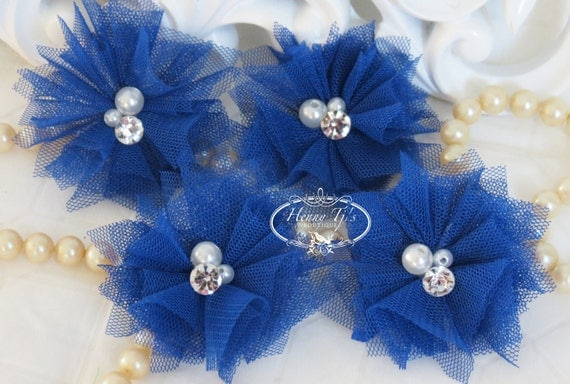 Elena TULLE : 4 pieces Royal Kobalt Blue Small Tulle Mesh Flowers With rhinestone Pearl Center Poof Flowers Hair accessories
