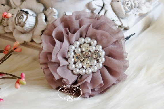 New to Shop Reilly Collection: 2 pcs TAUPE Soft Chiffon Ruffled Fabric Flowers w/ Rhinestones Pearls - Layered Bouquet fabric flowers
