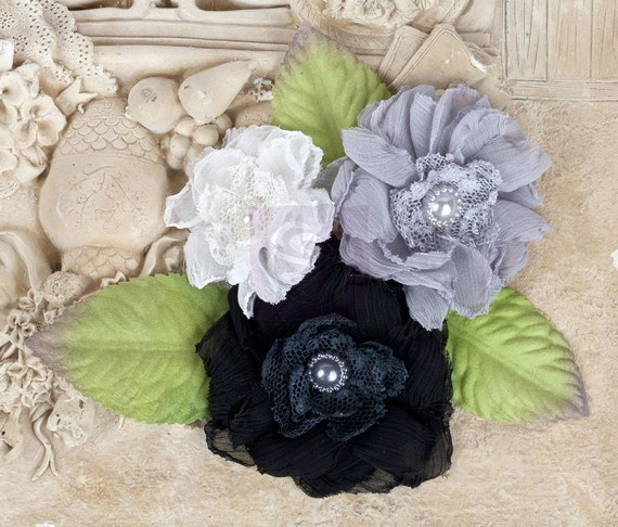 "Prima: ""Paquita"" BlackTie 566463 Black/ Grey/ White Chiffon lace Heat Edged fabric flowers with Green leaves"