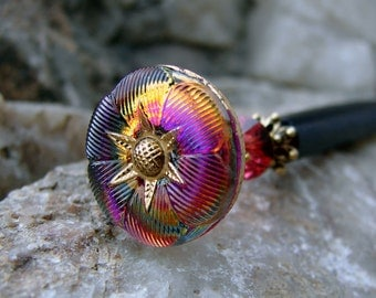 Fuchsia and Orange Hair Stick, Vintage Inspired Flower with Swarovski Crystals and Gold - Bahira