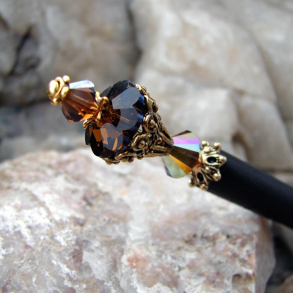 Brown Crystal Japanese Hair Stick Swarovski Geisha Hair Sticks