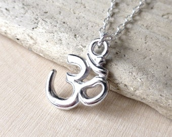 Om Necklace, Ohm Charm Necklace, Sterling Silver, Gift for Her, Yoga, Aum, Hindu