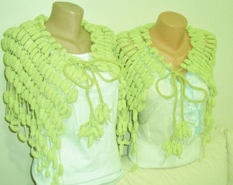Yellow Green Wedding Shawl - Green Wedding Capelet - Green Shawl - Green Capelet - Unique Bridesmaids Gifts