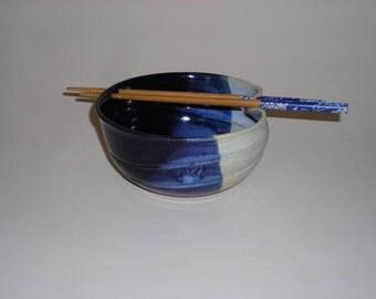 Cobalt Blue and Cream Rice Bowl with chopsticks
