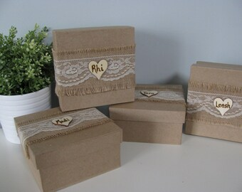 Rustic Personalized Bridesmaid Gift Box Jewelry Keepsake Gift Box Chalkboard or Wood Tag Bride Ring Box You Personalize