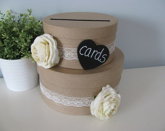 Rustic Wedding Card Box 2 tiered with Chalkboard or Wood Personalized Tag Ivory Ranunculus Burlap and Lace