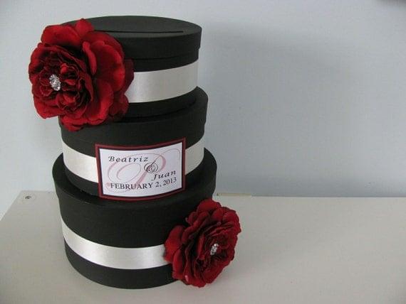Items similar to Black Glam Wedding Card Box Modern 3 tiered Ivory – Red Wedding Card Box