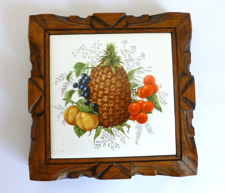 Vintage 1970 39 S Mexican Ceramic Wood Tropical Fruit Tile