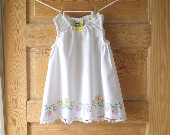 Items similar to Girls 2T Vintage Pillowcase Baby Dress- Pastel Cross Stitch Roses Embroidery ...