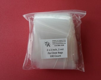 Small Clear Zip Close Plastic Bags | Zipper Close | 2 x 2 Inch Clear Plastic Bags | 2 mil Thick, 100 Count Great for Beads and Findings