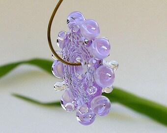 Lavender Lampwork Glass Disc Beads, FREE SHIPPING, Handmade Bubble Lampwork Spacers Beads, Earrings Set - Rachelcartglass
