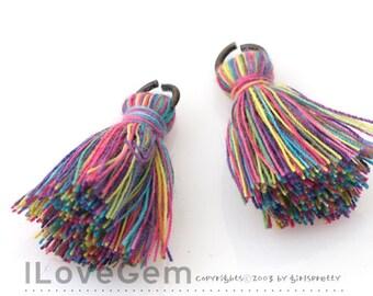 TA-028 Tassel, Multi Rainbow, A Color(Cotton), 23mm, 2pcs