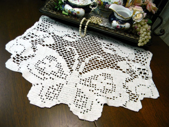 Filet Crochet Armchair or Sofa Doily Back by VintageKeepsakes