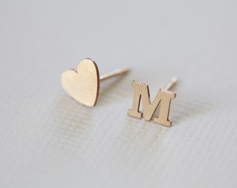 initial earrings, dainty earrings, heart earrings, tiny studs - gold filled