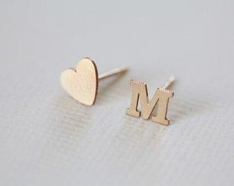 initial earrings, heart earrings, dainty earrings, personalized jewelry, minimalist earrings - gold filled