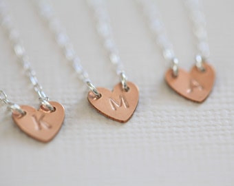 bridesmaid necklace, bridesmaid gift, initial heart necklace for personalized bridesmaids gift - rose gold heart sterling silver