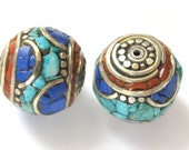 Focal Tibetan brass bead with turquoise coral and lapis inlay - 1 bead - BD233
