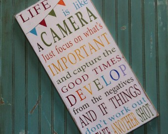 Life is Like a Camera with Bunting Typography Word Art Sign