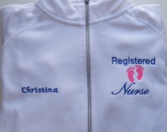 Registered Nurse Embroidered Fleece Jacket NICU  ER Nurse White Fleece Baby Oncology