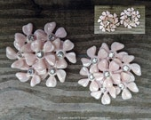 pink clip on earrings vintage earrings 1960's pink flower rhinestone jewelry groovy!