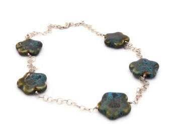 Ceramic flower bead necklace sterling silver chain