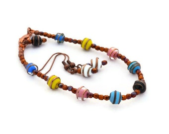 Multi Color Lampwork bracelet and earrings with Copper Jewelry Set