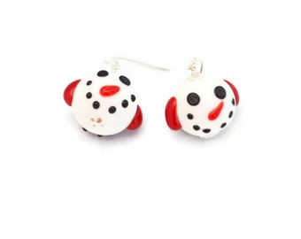Snowman Christmas Winter Lampwork Earrings