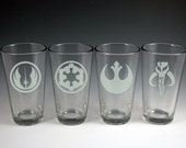 Star Wars Theme Etched Glass Set of Pint Glasses