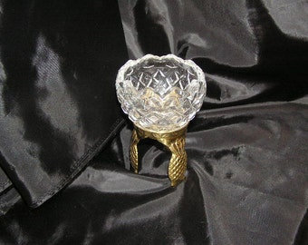 Vintage Royal Irish  Crystal  dish on Gold colored Pineapple stand