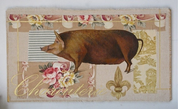 Pig on Toile Original/Sale Reduced to 295..   Charcuterie painting on vintage textiles