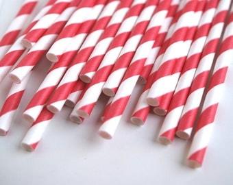 Red Striped Paper Straws - Retro Paper Straws - Wedding Straws - Bar Car Supplies
